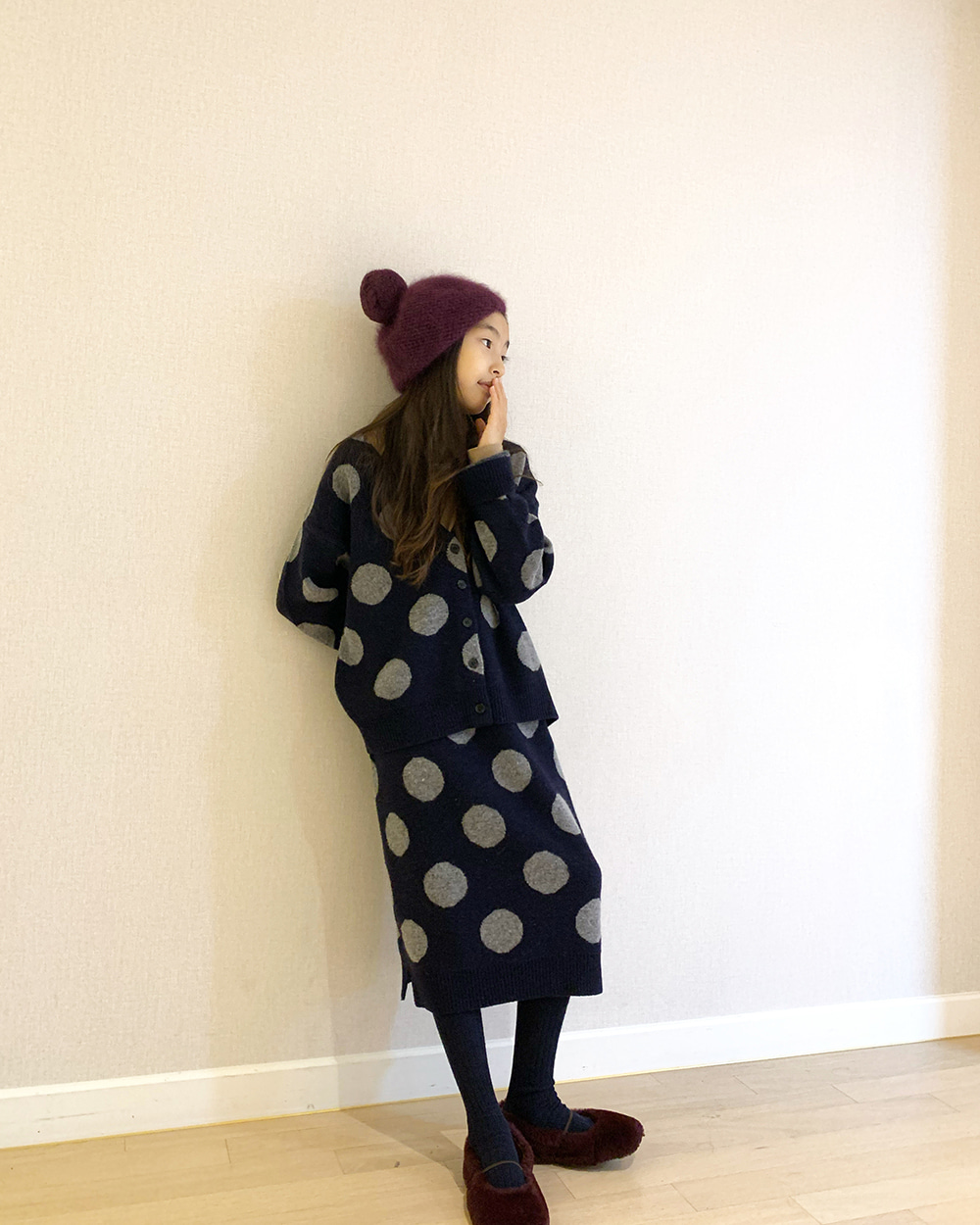 [60% SALE] Dots Wool Knit Set [NAVY]